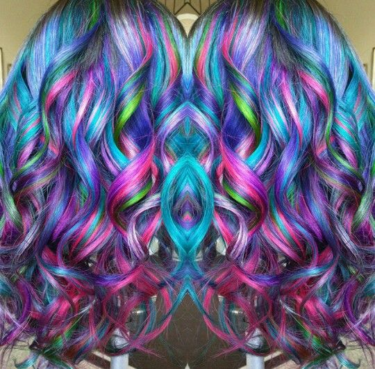 Pink blue multi rainbow dyed hair