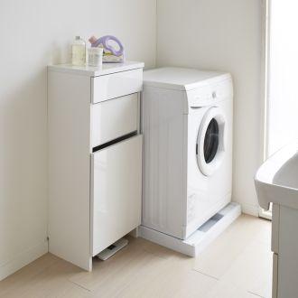 組立不要 洗濯カゴ付き2in1光沢サニタリー収納庫 ロータイプ 幅43.5cm 通販 - ディノス