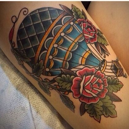 Traditional hot air balloon tattoo. these flowers. yes.