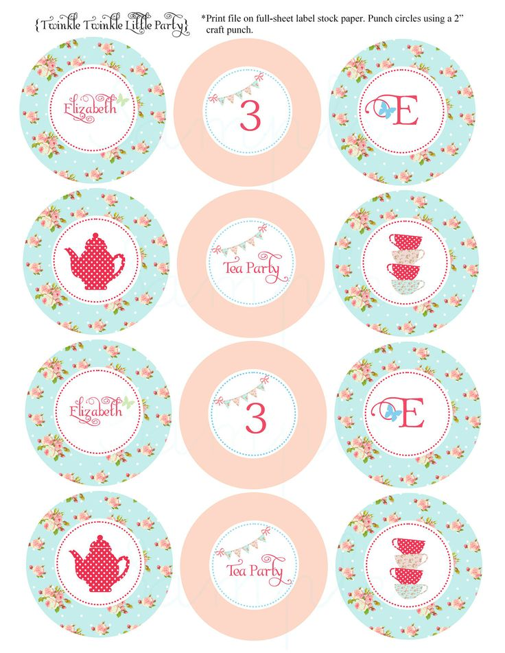 PRINTABLE Shaby Chic Tea Party Cupcake Toppers