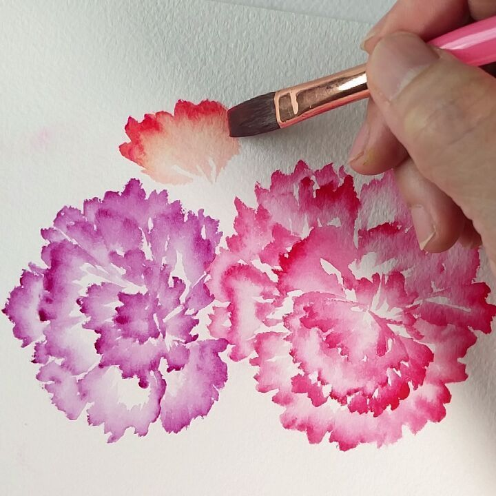 3,087 vind-ik-leuks, 33 reacties - Esther Peck (@estherpeck) op Instagram: 'Ruffled carnations Part 2 painted with @prima_watercolor flat brush no 8 Refer to my book 'Lush &…'
