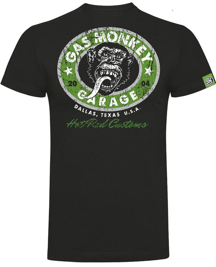 Hot Rod Custom Green Logo T-Shirt Front & Rear Print Colour: Black Cotton  New for 2017 Official Gas Monkey Garage™ Merchandise