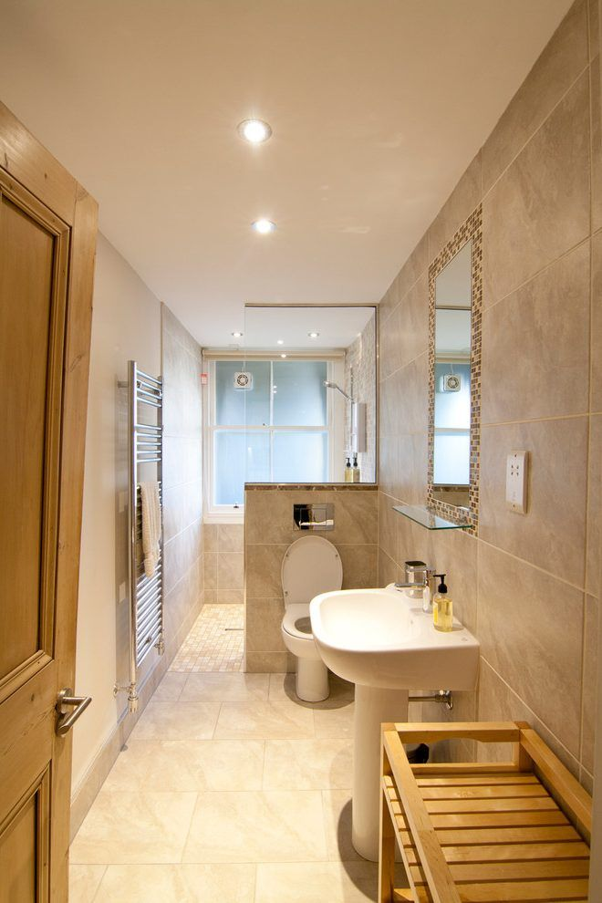 long narrow bathroom contemporary with window wooden cabinets