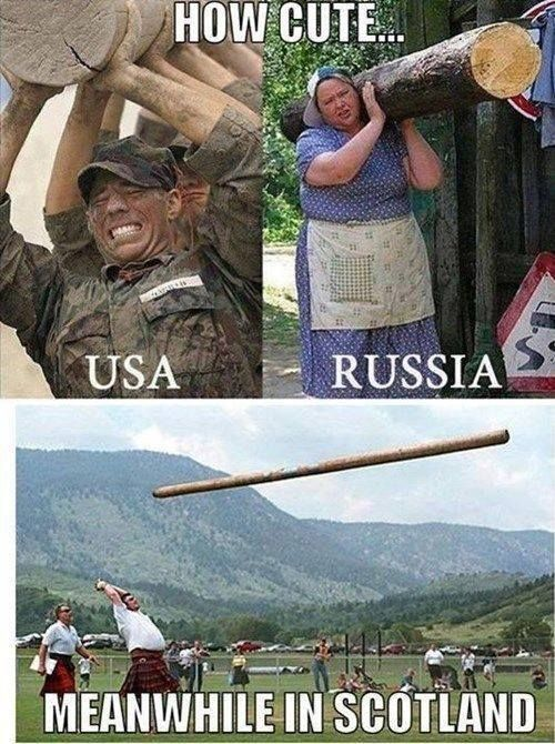 How cute... USA vs Russia vs Scotland - Funny Pictures, Funny jokes and so much more | Jokideo