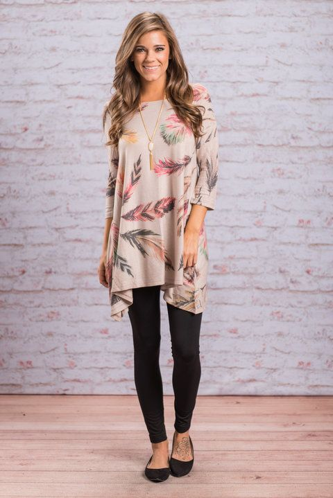 """Cute Feather Print Tunic, Natural"" We are loving this colorful feather printed tunic! The jersey knit fabric is soft and the cut is flattering and trendy! We like how the sides are a bit longer and how it flares out slightly around the bottom.  #newarrivals #shopthemint"
