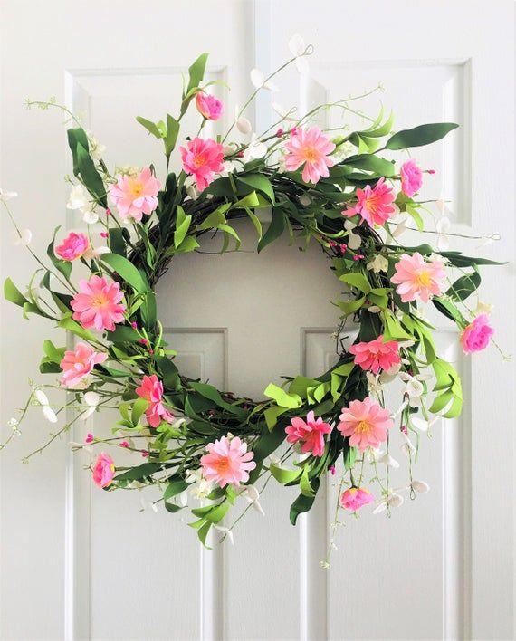 Pink Spring Flower Wreathsfront Door Wreathflower Berry Etsy In 2020 Spring Flower Wreath Pink Spring Flowers Spring Flowers