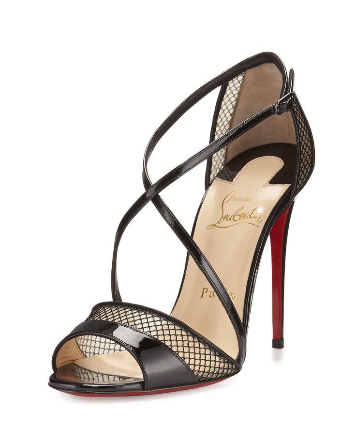 Slikova Patent Mesh Red Sole Sandal, Black, Women's, Size: 40.5B/10.5B - Christian Louboutin