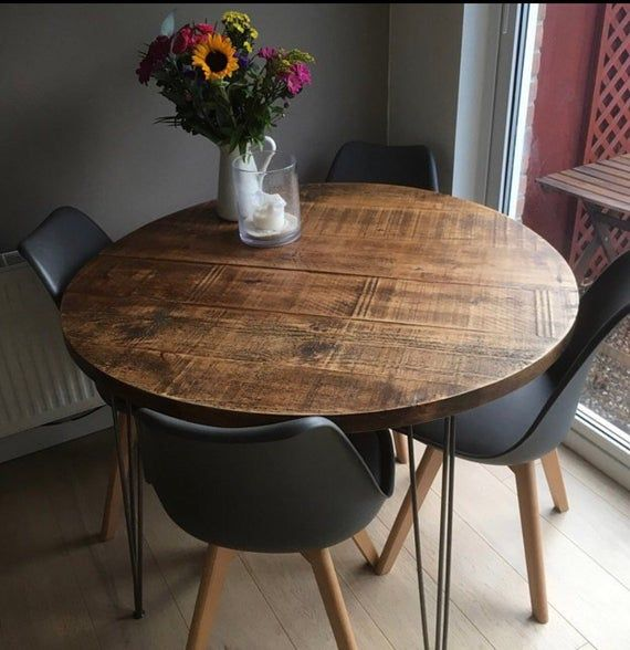 Round Rustic Industrial Hairpin Dining Table Hairpin Dining