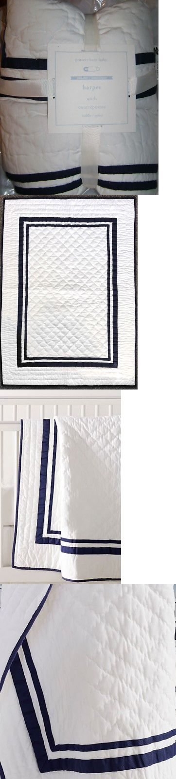 Quilts and Coverlets 180908: Pottery Barn 100% Cotton Harper White And Navy Toddler Crib Quilt Baby Blanket Nwt -> BUY IT NOW ONLY: $49.99 on eBay!