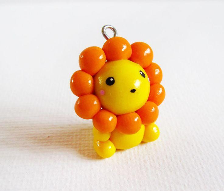 Polymer Clay Cute Yellow Lion Charm. $10.00, via Etsy.