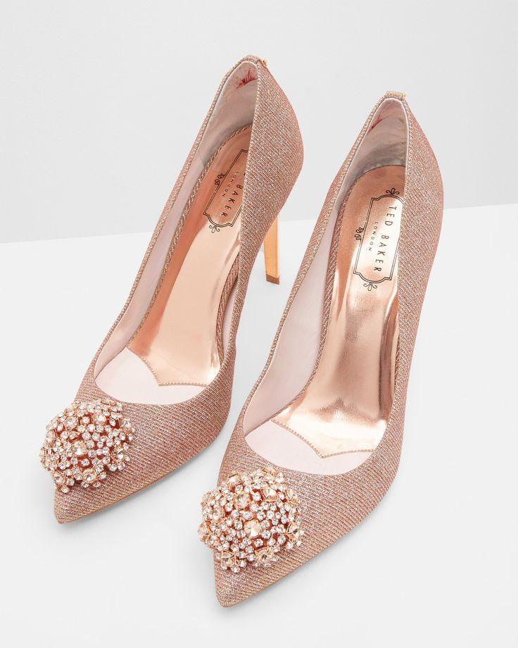 Brooch Detail Court Shoes Rose Gold Shoes Ted Baker Uk Shoesuk Wedding Shoes Heels Rose Gold Wedding Shoes Rose Gold Shoes