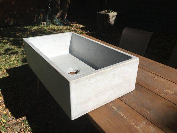 Concrete Farmhouse Kitchen Sink In 2020 Farmhouse Sink Kitchen
