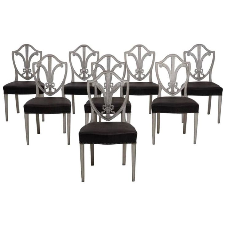 19th Century Eight Swedish Gustavian Style Dining Chairs Modern Room