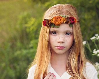 felt flower garland headband baby toddler by muffintopsandtutus