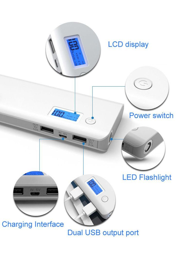20000mAh Dual USB Power Bank LCD LED Mobile Phone External Battery Charger