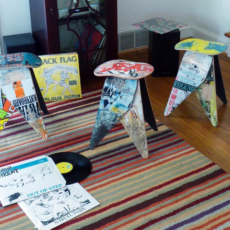 so inventive! stools made from old skateboards.: Skating Art, Decks Stools2, Skateboard Decks, Crafts Art, Decks Stools 2, Skateboard Stools, Broken Skateboard, Deckstool Recycled, Recycled Skateboard