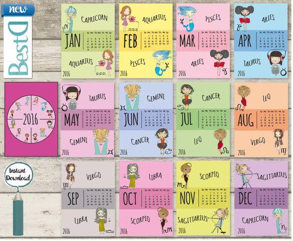 Printable 2016 Calendar drawing zodiac girls 13 por BestDesignland