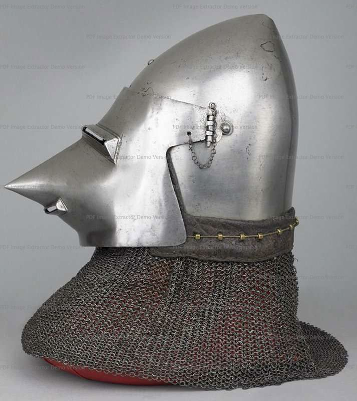 Bascinet with Aventail, Wallace Collection, London  1360-1380 ref_arm_1594_011 Composite helmet, as it can be seen that originally the skull had a center hinged visor. The aventail also is a mix of various patches of mail put together in the early XX century, as are the vervelles as well.