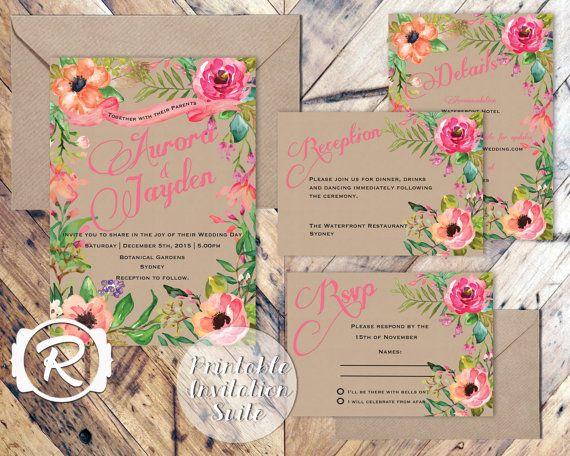 Printable Wedding Invitation, Summer Watercolor Floral, Floral Wedding Invite, Floral Bohemian Style, RSVP card DIY Printable Invitations