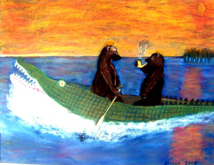 Björnarnas kanot utflykt, pastell på papper. The bears' canoe trip, pastel on paper.