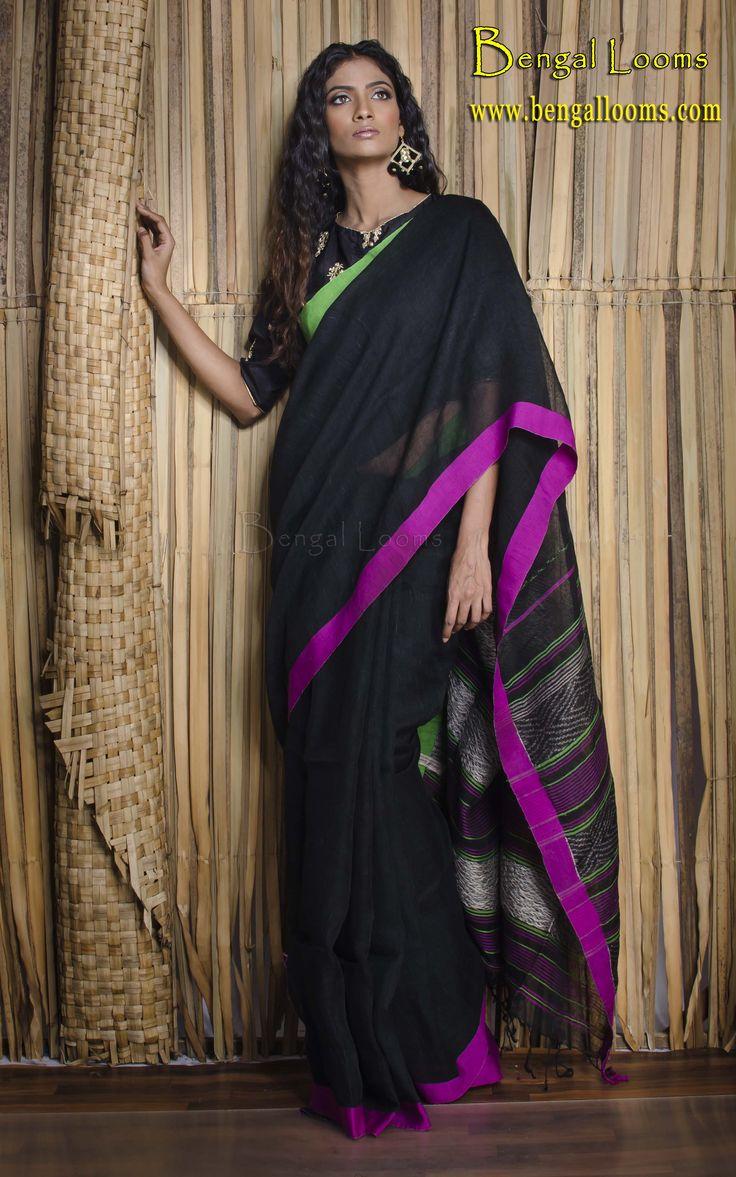 Linen Sari in Black with Ganga Jamuna Border
