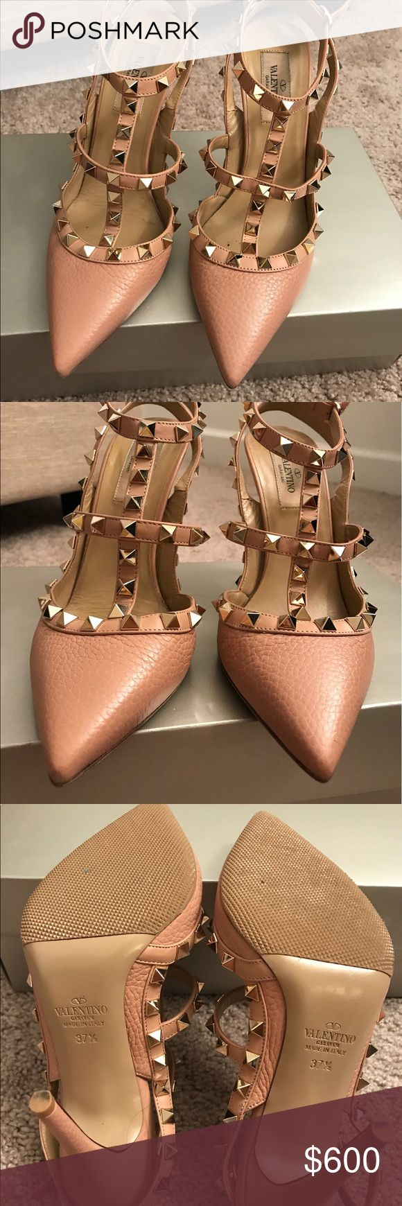 Valentino rock studded heels in blush Beautiful Valentino rock stud heels in a creamy blush. Only worn once for my wedding! No damage anywhere leather in pristine condition and I added the rubber to the sole for protection and extra comfort. 37.5 but fits a size 7 US Valentino Shoes Heels