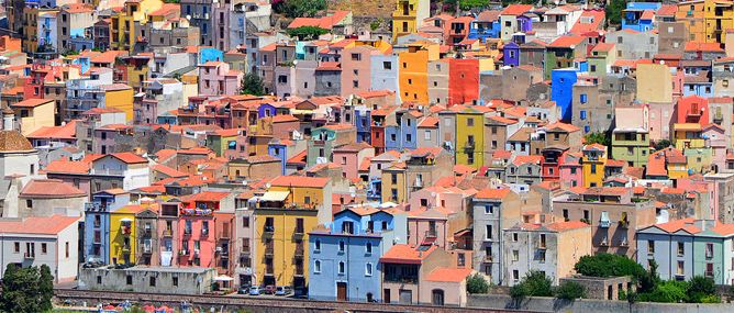 The colourful Sardinian town of Bosa, Italy