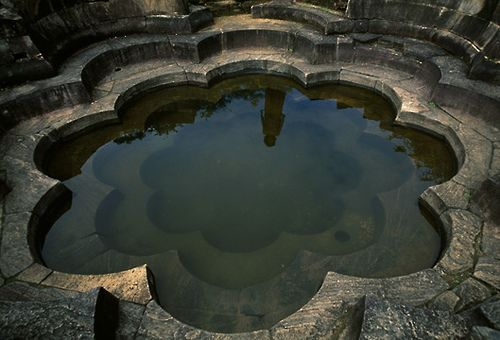 ancient royal bathing pond in the form of a lotus flower - polonnaruwa, sri lanka