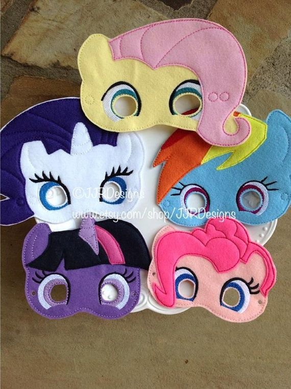 These are high quality dress up/play masks! I have 6 styles available, rainbow, twilight, rarity, apple jack and pinkie. They are about 5-6 wide and
