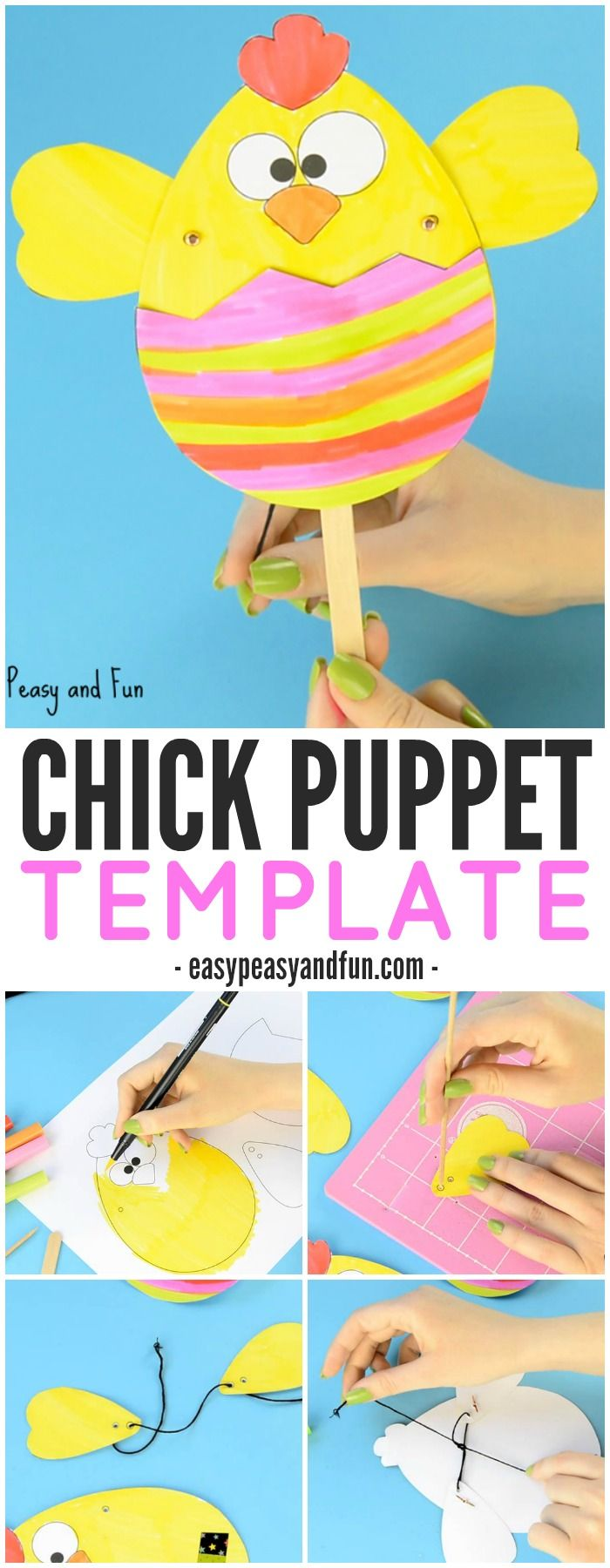 Paper Chick Puppet Craft Template – Fun Easter Idea