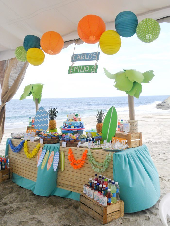 Surfin' birthday party, these year will be special .. Dos cumpleaños en uno, con sus favorites themes. Más