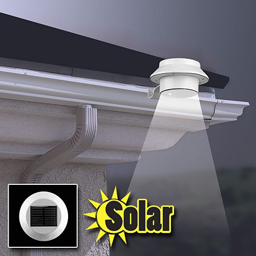 Powerful solar LED attaches to gutter. Have light anywhere around your home. Bright solar light attaches quickly and easily to gutters or any flat surfaces with bracket included. #customerfavorite