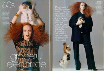Karen Elson portraying Vogue's Grace Coddington, with a nod to her love of cats.  Photo by Steven Meisel