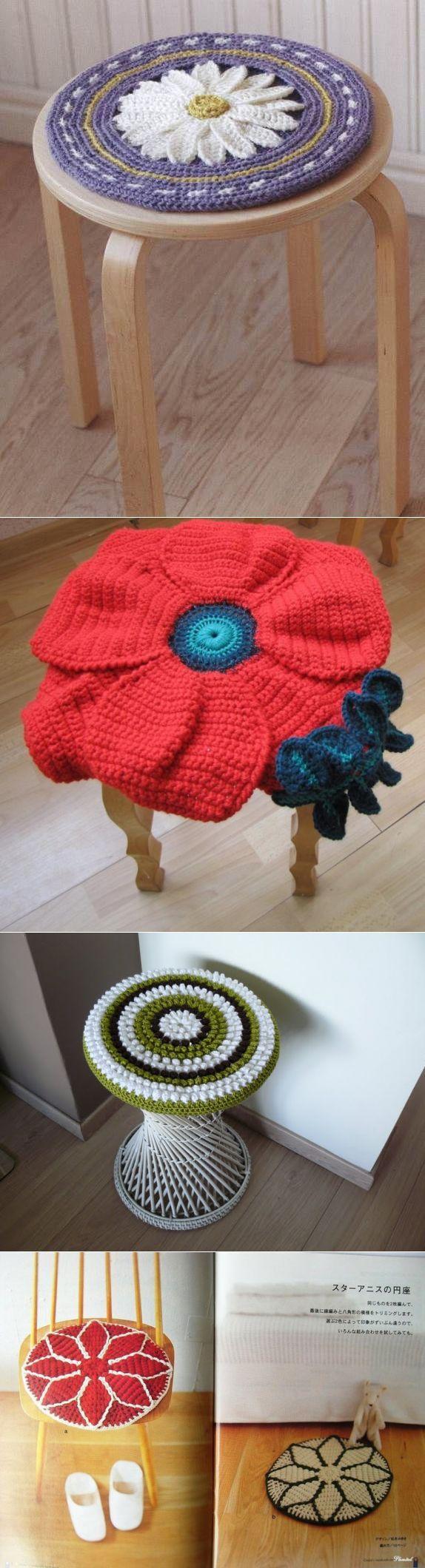 Связанные в виде цветов подушки-сидушки — Рукоделие