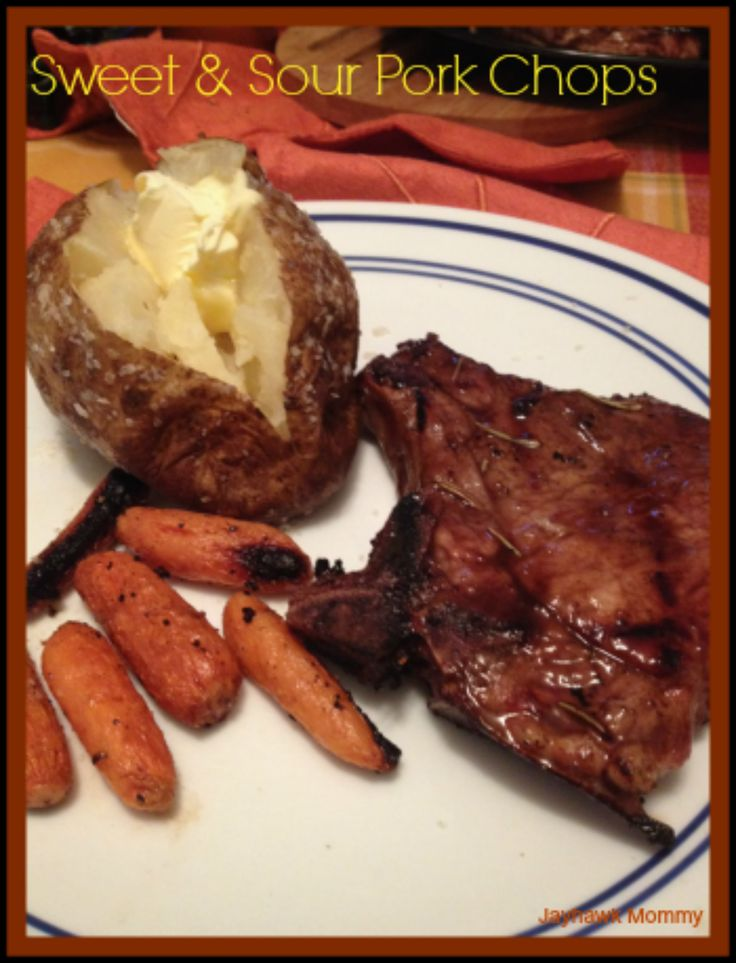 Sweet & Sour Pork Chops with Outback Baked Potatoes - Adventures of a Jayhawk Mommy