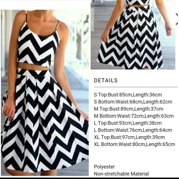 Chevron outfit skirt and top New without tag. Chevron print skirt and crop top. Brand new Skirts