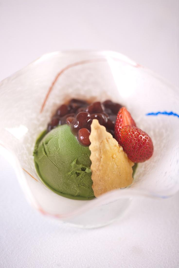 Green Tea Ice Cream with Red Bean Paste at Benkay Japanese Restaurant