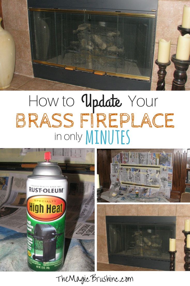 Fireplace Redo- How to update your brass fireplace in minutes. Jennifer Allwood of the Magic Brush shows you how paint the brass hardware on your fireplace for an easy home update.