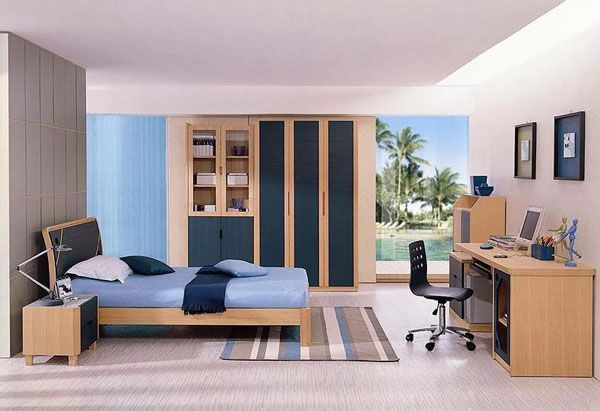 Young man teen design shelf curtain window Palm wood rug