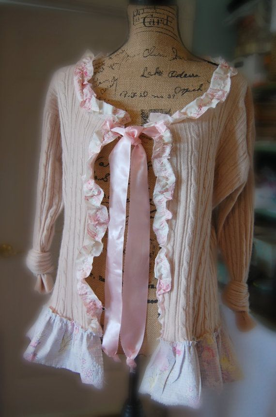 Blush Pink Cashmere Sweater Womens Medium Shabby Chic Clothing Altered Romantic Vintage Free