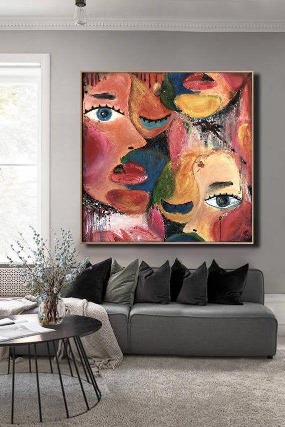 Abstract Painting Acrylic Canvas Wall Art Pictures For Living Etsy Abstract Painting Acrylic Canvas Painting Acrylic Painting Canvas