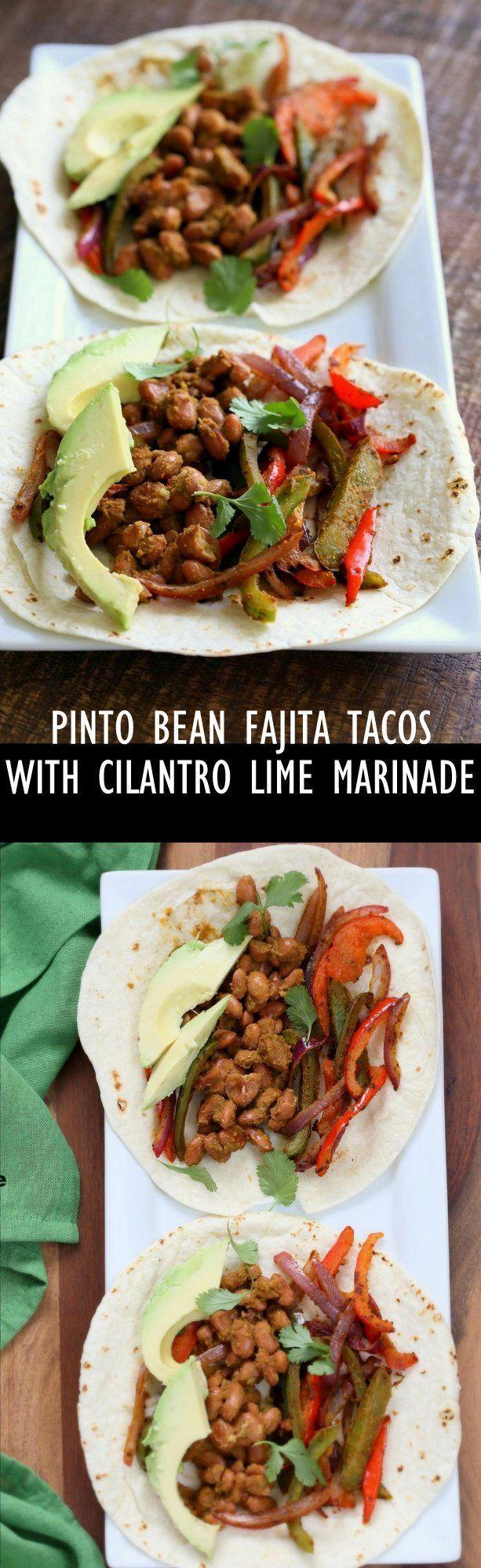 Veggie Pinto Bean Fajita Tacos with Cilantro Chile Marinade. Amazing Fajita Marinade for veggies and Beans. Vegan Gluten-free Soy-free Vegetarian Fajita Recipe | http://VeganRicha.com