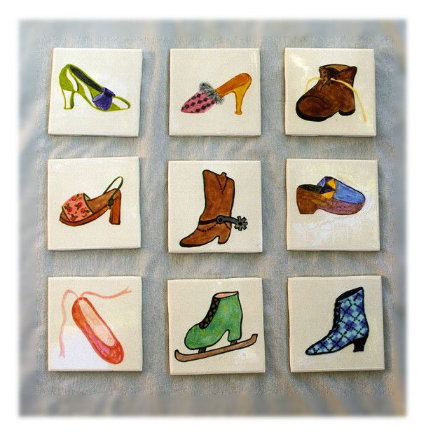 Bespoke hand painted ceramic tiles with a shoe theme. Immortalise your favourite shoes on bathroom tiles!http://greta63.wix.com/notallwhite