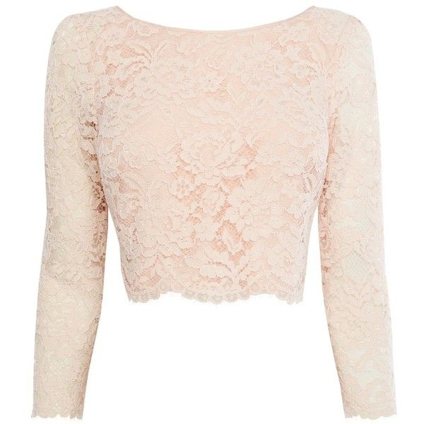 Coast Manon Lace Top, Blush found on Polyvore featuring tops, shirts, crop top, long-sleeve crop tops, pink long sleeve shirt, long sleeve lace shirt and long sleeve tops