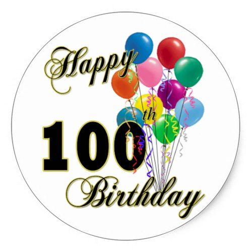 Happy 100th Birthday Gifts And Apparel Classic Round Sticker