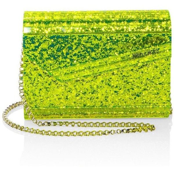 Jimmy Choo Candy Neon Glitter Acrylic Clutch ($850) ❤ liked on Polyvore featuring bags, handbags, clutches, glitter handbags, hand bags, green handbags, man bag and neon clutches
