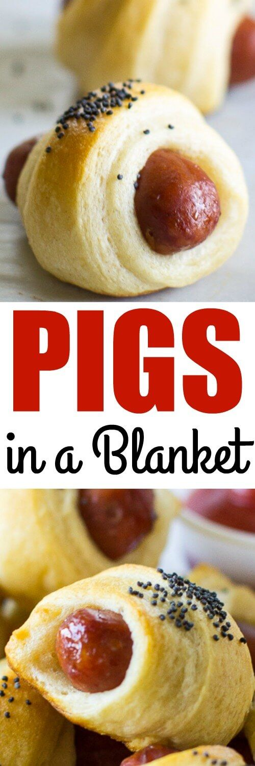 These Easy Pigs in a Blanket take just two ingredients and 20 minutes. Makes a great snack for kids or double the batch for your next party!