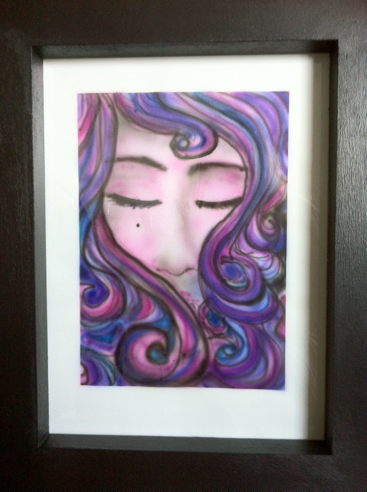 Solitude. We all need time to rest, think, meditate, create. Airbrush on paper with scrap booking ink. For sale.