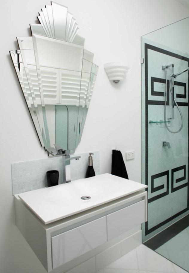 How To Create An Art Deco Contemporary Bathroom Art Deco Tiles Art Deco Bathroom Modern Art Deco Interior