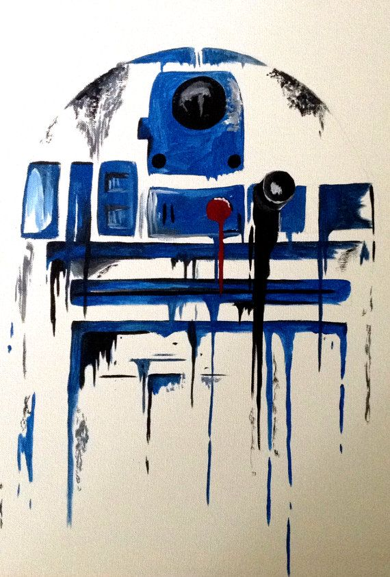 Star Wars R2D2 Inspired Blue Drip Style Painting